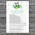 Cute panda How Well Do You Know Game,Cute panda Baby shower games,INSTANT DOWNLOAD--301