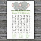 Elephants Baby Shower Word Search Game,Elephants Baby shower games,INSTANT DOWNLOAD--300