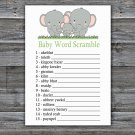 Elephants Baby Word Scramble Game,Elephants Baby shower games,INSTANT DOWNLOAD--300