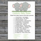 Elephants Celebrity Baby Name Game,Elephants Baby shower games,INSTANT DOWNLOAD--300