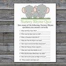 Elephants Nursery Rhyme Quiz Game,Elephants Baby shower games,INSTANT DOWNLOAD--300