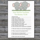 Elephants How Well Do You Know Game,Elephants Baby shower games,INSTANT DOWNLOAD--300