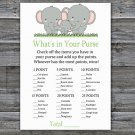 Elephants What's In Your Purse Game,Elephants Baby shower games,INSTANT DOWNLOAD--300