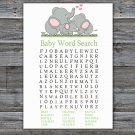 Elephant family Baby Shower Word Search Game,Elephant Baby shower games,INSTANT DOWNLOAD--299