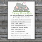 Elephant family Nursery Rhyme Quiz Game,Elephant Baby shower games,INSTANT DOWNLOAD--299