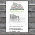 Elephant family How Well Do You Know Game,Elephant Baby shower games,INSTANT DOWNLOAD--299