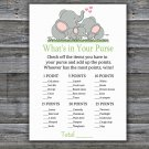 Elephant family What's In Your Purse Game,Elephant Baby shower games,INSTANT DOWNLOAD--299