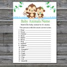 Baby Monkey Baby Animals Name Game,Monkey Baby shower games,INSTANT DOWNLOAD--298