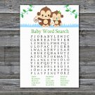 Baby Monkey Baby Shower Word Search Game,Monkey Baby shower games,INSTANT DOWNLOAD--298