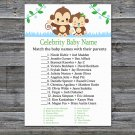 Baby Monkey Celebrity Baby Name Game,Monkey Baby shower games,INSTANT DOWNLOAD--298