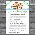 Baby Monkey Nursery Rhyme Quiz Game,Monkey Baby shower games,INSTANT DOWNLOAD--298