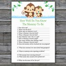 Baby Monkey How Well Do You Know Game,Monkey Baby shower games,INSTANT DOWNLOAD--298