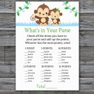 Baby Monkey What's In Your Purse Game,Monkey Baby shower games,INSTANT DOWNLOAD--298