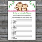 Monkey Baby Animals Name Game,Cute Monkey Baby shower games,INSTANT DOWNLOAD--297