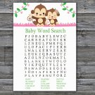 Monkey Baby Shower Word Search Game,Cute Monkey Baby shower games,INSTANT DOWNLOAD--297