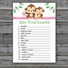 Monkey Baby Word Scramble Game,Cute Monkey Baby shower games,INSTANT DOWNLOAD--297