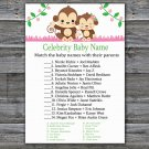 Monkey Celebrity Baby Name Game,Cute Monkey Baby shower games,INSTANT DOWNLOAD--297
