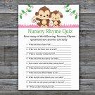 Monkey Nursery Rhyme Quiz Game,Cute Monkey Baby shower games,INSTANT DOWNLOAD--297