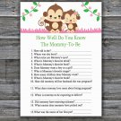 Monkey How Well Do You Know Game,Cute Monkey Baby shower games,INSTANT DOWNLOAD--297