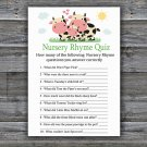 Cow Nursery Rhyme Quiz Game,Cow Baby shower games,INSTANT DOWNLOAD--296