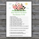 Cow How Well Do You Know Game,Cow Baby shower games,INSTANT DOWNLOAD--296