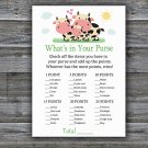 Cow What's In Your Purse Game,Cow Baby shower games,INSTANT DOWNLOAD--296