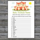 Fox Baby Animals Name Game,Fox Baby shower games,INSTANT DOWNLOAD--295