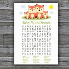 Fox Baby Shower Word Search Game,Fox Baby shower games,INSTANT DOWNLOAD--295