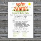Fox Celebrity Baby Name Game,Fox Baby shower games,INSTANT DOWNLOAD--295