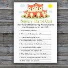 Fox Nursery Rhyme Quiz Game,Fox Baby shower games,INSTANT DOWNLOAD--295