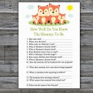 Fox How Well Do You Know Game,Fox Baby shower games,INSTANT DOWNLOAD--295