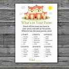 Fox What's In Your Purse Game,Fox Baby shower games,INSTANT DOWNLOAD--295