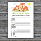 Sleeping Fox Baby Animals Name Game,Sleeping Fox Baby shower games,INSTANT DOWNLOAD--294