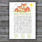 Sleeping Fox Baby Shower Word Search Game,Sleeping Fox Baby shower games,INSTANT DOWNLOAD--294