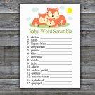 Sleeping Fox Baby Word Scramble Game,Sleeping Fox Baby shower games,INSTANT DOWNLOAD--294