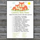 Sleeping Fox Celebrity Baby Name Game,Sleeping Fox Baby shower games,INSTANT DOWNLOAD--294