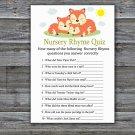 Sleeping Fox Nursery Rhyme Quiz Game,Sleeping Fox Baby shower games,INSTANT DOWNLOAD--294