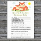 Sleeping Fox How Well Do You Know Game,Sleeping Fox Baby shower games,INSTANT DOWNLOAD--294