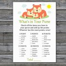 Sleeping Fox What's In Your Purse Game,Sleeping Fox Baby shower games,INSTANT DOWNLOAD--294