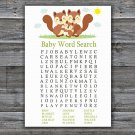 Squirrel Baby Shower Word Search Game,Squirrel Baby shower games,INSTANT DOWNLOAD--293
