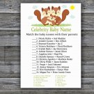 Squirrel Celebrity Baby Name Game,Squirrel Baby shower games,INSTANT DOWNLOAD--293