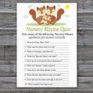 Squirrel Nursery Rhyme Quiz Game,Squirrel Baby shower games,INSTANT DOWNLOAD--293