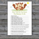 Squirrel How Well Do You Know Game,Squirrel Baby shower games,INSTANT DOWNLOAD--293