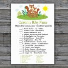 Cute Squirrel Celebrity Baby Name Game,Squirrel Baby shower games,INSTANT DOWNLOAD--292