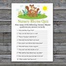 Cute Squirrel Nursery Rhyme Quiz Game,Squirrel Baby shower games,INSTANT DOWNLOAD--292