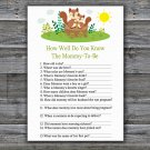 Cute Squirrel How Well Do You Know Game,Squirrel Baby shower games,INSTANT DOWNLOAD--292