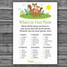 Cute Squirrel What's In Your Purse Game,Squirrel Baby shower games,INSTANT DOWNLOAD--292
