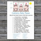 Hippo Celebrity Baby Name Game,Hippo Baby shower games,INSTANT DOWNLOAD--291