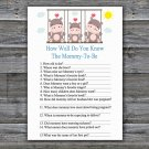 Hippo How Well Do You Know Game,Hippo Baby shower games,INSTANT DOWNLOAD--291
