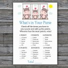 Hippo What's In Your Purse Game,Hippo Baby shower games,INSTANT DOWNLOAD--291